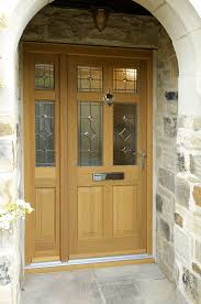 leaded glazed timber door and side panel