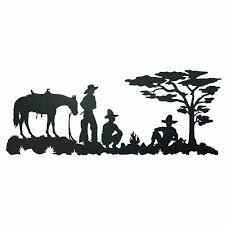 western metal art silhouettes inside cur cowboy camp metal wall art view 13 of 15