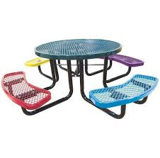 solid metal kids outdoor round picnic table with attached seating benches in colorful finish
