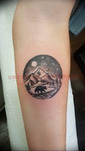 фото тату горы в круге 23072019 035 Mountain Tattoo In A Circle