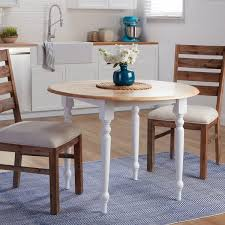 round dining room table with leaf. Two-tone 40-inch Rubberwood Round Drop-leaf Table - N/A Dining Room With Leaf