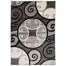 modern scroll circles design area rug 7 10 x
