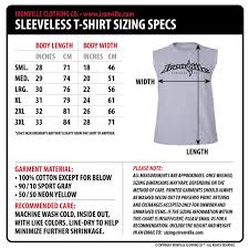 Body Length Size Chart Ironville Size Charts Sleeveless Bodybuilding Shirts