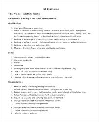 substitute preschool teacher job description - Job Duties Of Teacher