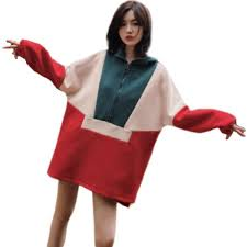 Color Splicing Chic Leisure Zipper Hoodie <b>Loose</b> Coat <b>Harajuku</b> ...