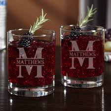 Personalized cocktail glasses Scotch Home Wet Bar Oakmont Personalized Cocktail Glasses Set Of