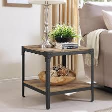 walker edison furniture company angle iron barnwood end table set of 2 hd20aistbw the home depot