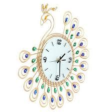 <b>Elegant</b> Peacock Antique Large Wall Clock <b>Metal</b> Living Room Wall ...