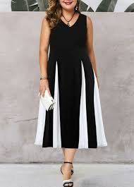 Modlily Size Chart V Neck Color Block Plus Size High Waist Dress Modlily Com Usd 31 76