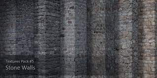 3d textures pack 5 stone walls cgtrader