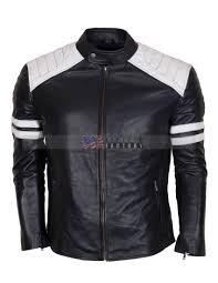 fight club hybrid black leather biker jacket