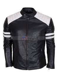 fight club hybrid black leather biker jacket