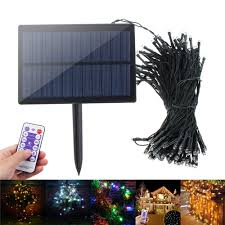 Dimmable Christmas Lights Solar Powered Dimmable 17m 8 Modes Timer 100 Led Fairy String Light Christmas Decor Remote Control