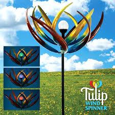 tulip wind spinner blue and green erflies metal in spinners gardening