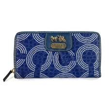 Coach Dot Logo Monogram Large Blue Wallets EDG