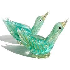 hand blown glass birds beautiful and rare set of hand blown green and gold flecks art