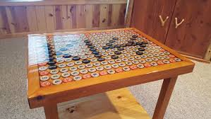 bottle cap furniture. beer and beautiful furniture then this is the table for you instructable will show how to build your own resin bottle cap end