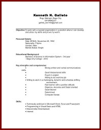 Resume For College Student With No Experience Resume Sample