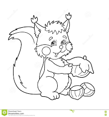 Small Picture Coloring Page Outline Of Cartoon Squirrel With Nuts Coloring Bo