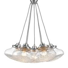 golden lighting asha pewter seven light pendant with crushed crystal glass