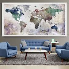 designs ideas mid century living room with large world map wall art and blue mid century sofa also small coffee table create your room more artistic with