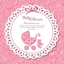 Baby Shower Greeting Card For Baby Girl Seamless Pattern Baby