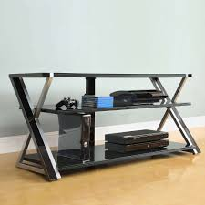 whalen black tv stand for 65 flat panel tvs with tempered glass shelves com