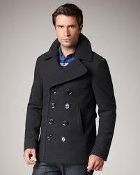 burberry brit short wool blend pea coat in gray for men lyst