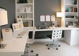 extraordinary home office ideas. Interior, Exceptional Home Office Setup Ideas With Fabulous L Shaped Desk In White Wood Material Combined Beige Table Lamp And Stylish Whtie Twins Wheels Extraordinary E