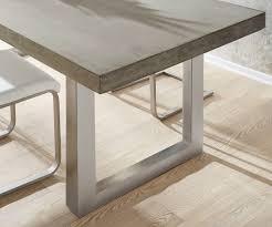 Esstisch Zement 200x100 Grau Beton Optik Gestell Breit