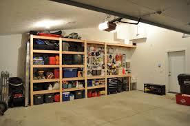 Exterior:Small Garage With Red Storage Also Workstation Table Cool Storage  Plan For Garage Design