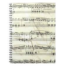 Music Paper Print Vintage Sheet Music Rustic Paper Print Notebook