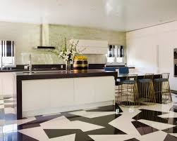 black and white tile floor kitchen. Huge Contemporary Kitchen Designs Inspiration For A U Shaped Remodel In. Black And White Tile Floor