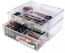 lori greiner clear stacking cosmetic make up organizer removable dividers new