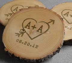 Wedding Coasters Personalized Rustic Wedding Favors Woodland Coasters Hand Stamped