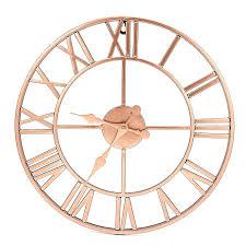 rose gold copper colour metal skeleton wall clock roman numerals 40 cm