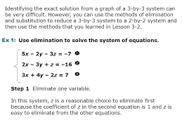identifying the exact solution from a graph of a 3 by 3 system can