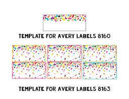 Template 8163 Rainbow Gold Glitter Confetti Avery Label Templates Editable
