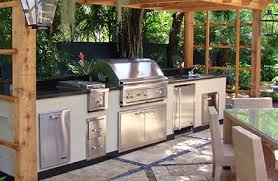stainless steel outdoor kitchen cabinets with black granite countertops