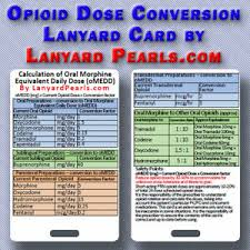 Details About Opioid Conversion Equivalance Chart Opioid Rotation Lanyard Reference Card