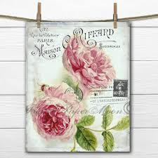 Shabby Chic Home Decor French Digital Shabby Chic Roses Cottage Rosesfrench Rose Pillow
