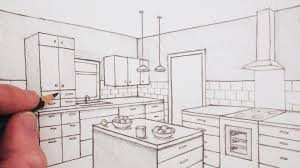 kitchen drawing perspective. Simple Kitchen Awesome Kitchen Drawing How To Draw A Room In Two Point Perspective Time  Lapse YouTube Throughout Perspective
