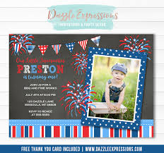 4th of july chalkboard invitation 1 free thank you card included