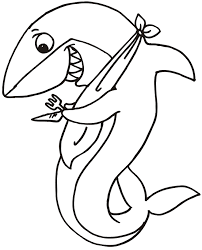 Small Picture Shark Coloring Page Shark With Fork Knife