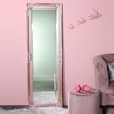 tall slim rose pink wall mirror shabby