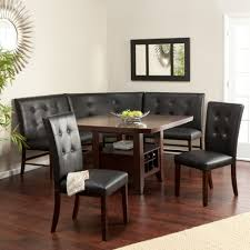 Dining Room:Marvelous Brown Wooden Table Combined With Corner Black Leather  Tufted Bench And Chairs