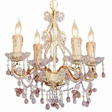 4 lights mini chandelier w rose colored murano crystal