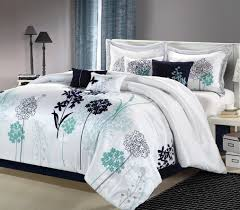 12pc oasis white navy teal luxury bedding set queen bedding by