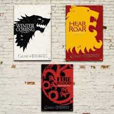 Set Of 3 Game Of Thrones Stark Lannister Targaryen House Sigil Game Of Thrones House Sigils Poster