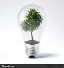 Light Bulb With Tree Inside Green Tree Inside Light Bulb 3d Rendering Stock Photo